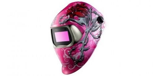 pink welding helmet
