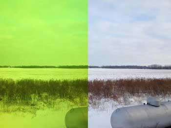 Jackson lens light shade mode (left) vs no helmet