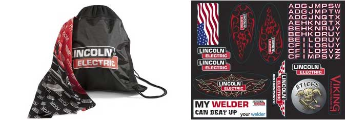 Helmet bag (left) & Helmet Stickers (right)